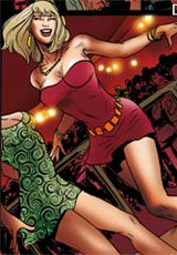 Breathtaking blonde in red lingerie hogtied and with clamps on her nipples gets tortured with a fucking machine in dirty bdsm comics