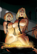 Perverted 3d couple have thier own blonde slave girl and using her as they wish.